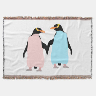 Pink and blue Penguins holding hands. Throw