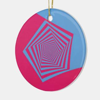 Pink and Blue Pentagon Spiral Ornament