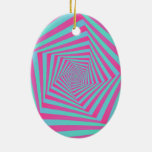 Pink and Blue Pentagon Spiral  Ornament