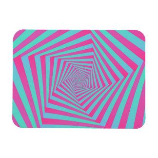 Pink and Blue Pentagon Spiral Rectangular Magnets