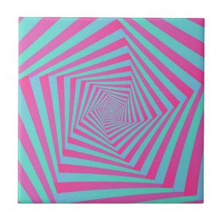 Pink and Blue Pentagon Spiral  tile