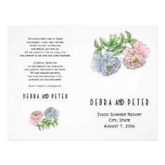 Pink and blue peony flowers folded wedding program