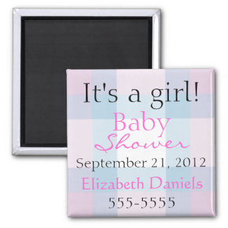 Pink and Blue Plaid 2 Inch Square Magnet