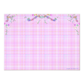 Pink and blue plaid Baby card