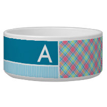 Pink and Blue Plaid Bowl