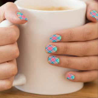 pink and blue plaid check nails minx nail wraps