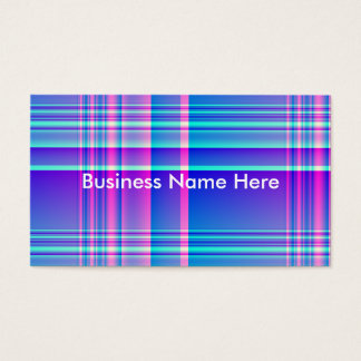 Pink and Blue Plaid Checkered Business Card