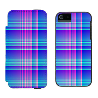 Pink and Blue Plaid Checkered iPhone SE/5/5s Wallet Case
