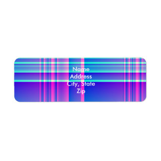 Pink and Blue Plaid Checkered Label