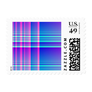 Pink and Blue Plaid Checkered Stamps