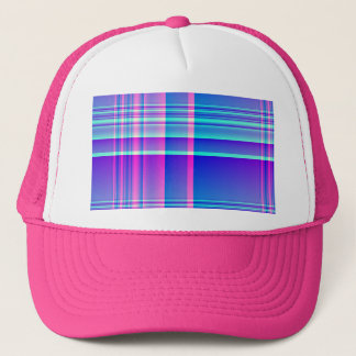 Pink and Blue Plaid Checkered Trucker Hat