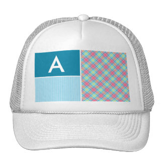 Pink and Blue Plaid Trucker Hat
