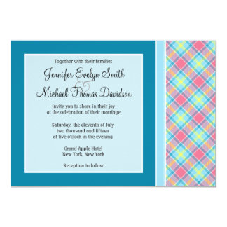 """Pink and Blue Plaid 5"""" X 7"""" Invitation Card"""