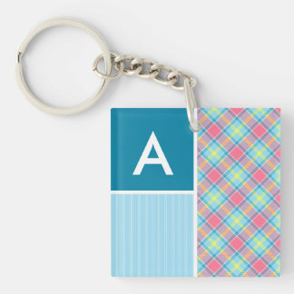 Pink and Blue Plaid Acrylic Key Chains