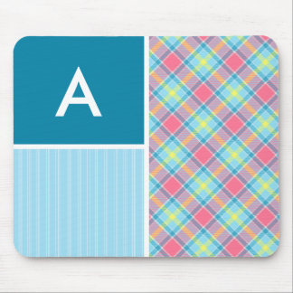 Pink and Blue Plaid Mouse Pad
