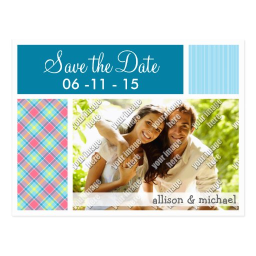 Pink and Blue Plaid Post Cards