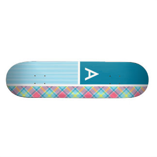 Pink and Blue Plaid Skateboards