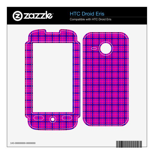 Pink and Blue Plaid Skin For HTC Droid Eris