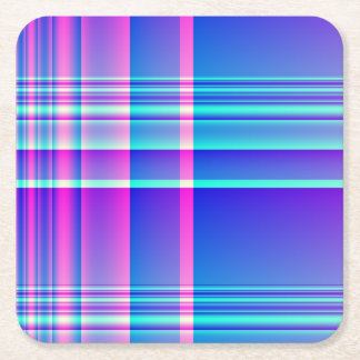 Pink and Blue Plaid Square Paper Coaster