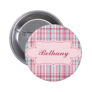Pink and Blue Plaid with Label Button