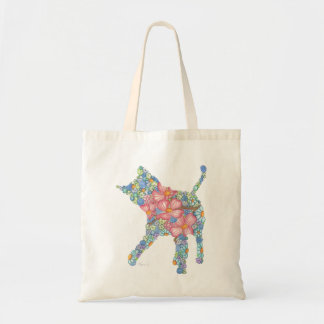 Pink and Blue Playful Kitty Tote Bag