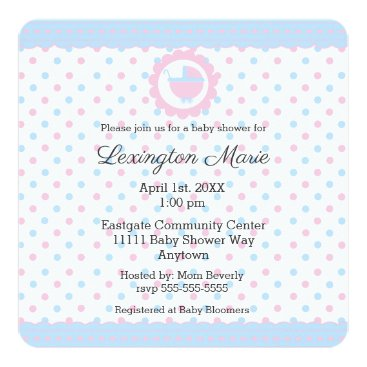 Pink and Blue Polka Dots Baby Shower Gender Reveal Card