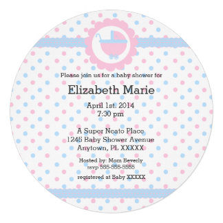 Pink and Blue Polka Dots-Baby Shower-Round Invitation