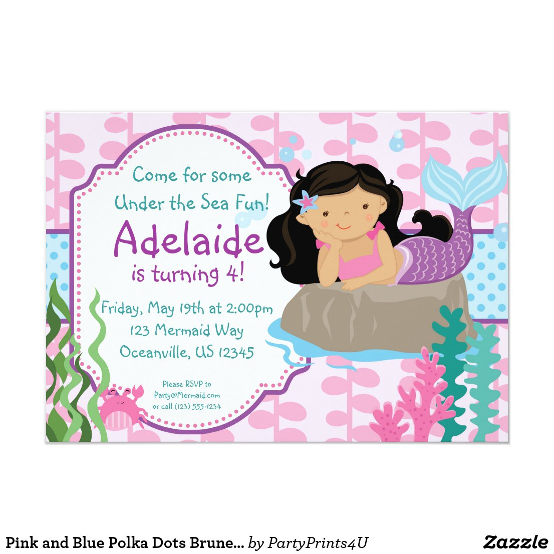 Pink and Blue Polka Dots Brunette Mermaid Birthday Card