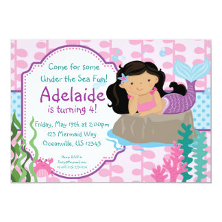 Pink and Blue Polka Dots Brunette Mermaid Birthday 5x7 Paper Invitation Card