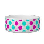Pink and Blue Polka Dots Cat Food Bowls