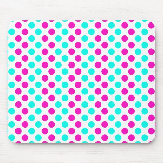 Pink and Blue Polka Dots Mouse Pad