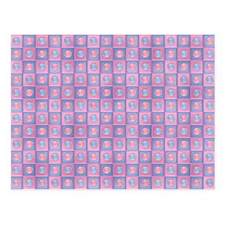 Pink and Blue Polka Dots Postcard