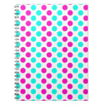 Pink and Blue Polka Dots Spiral Notebook