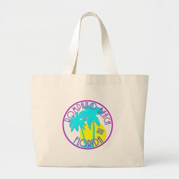 Beach Themed Pink and Blue Pompano Beach Florida Large Tote Bag