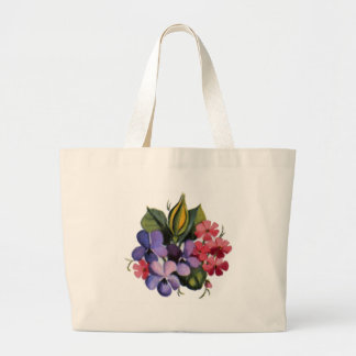 Pink and Blue Posies Large Tote Bag