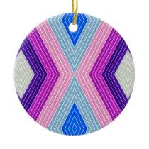 Pink and Blue Rhomb Stripe Pattern Ceramic Ornament
