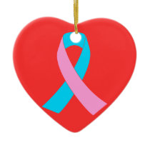 Pink and Blue Ribbon Awareness Ceramic Ornament