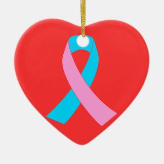 Pink and Blue Ribbon Awareness Ceramic Ornament