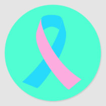 Pink and Blue Ribbon Awareness Classic Round Sticker