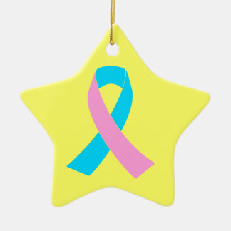 Pink and Blue Ribbon Awareness Double-Sided Star Ceramic Christmas Ornament