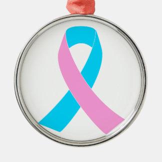 Pink and Blue Ribbon Awareness Metal Ornament