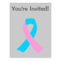 Pink and Blue Ribbon Awareness Postcard