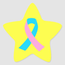Pink and Blue Ribbon Awareness Star Sticker