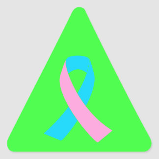 Pink and Blue Ribbon Awareness Triangle Sticker