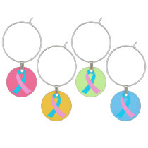 Pink and Blue Ribbon Awareness Wine Glass Charm