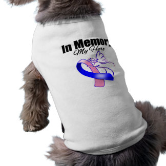 Pink and Blue Ribbon In Memory of My Hero Doggie Tee Shirt