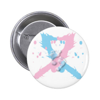 Pink and Blue Ribbon Splash with footprints 2 Inch Round Button