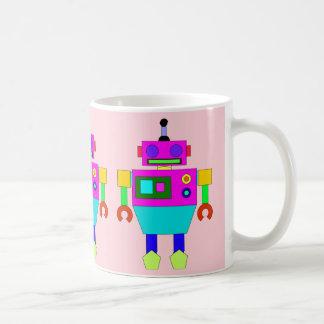 PINK AND BLUE ROBOT Classic White Mug