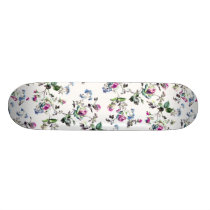 Pink and Blue Roses Floral Pattern Skateboard