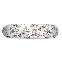 Pink and Blue Roses Floral Pattern Skateboard